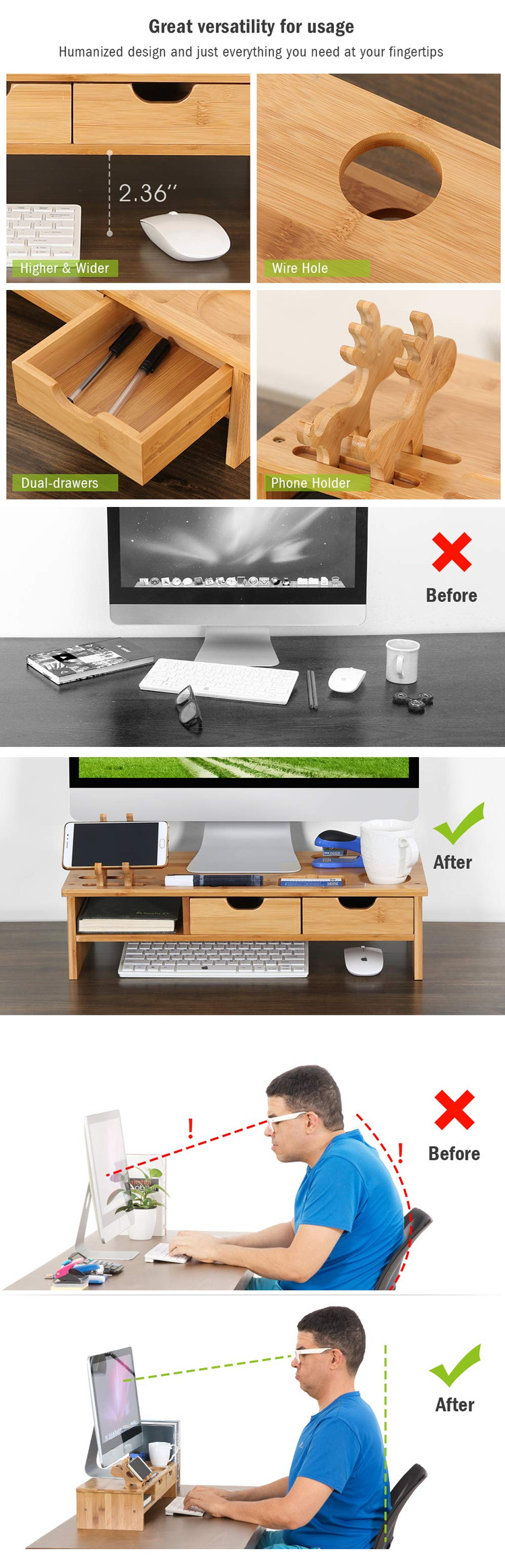 High Quality Monitor Stand Wooden Organizer 3