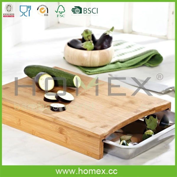 Top Quality Bamboo Chopping Board with Metal Drawer/Cutting Board/Homex_FSC/BSCI Factory