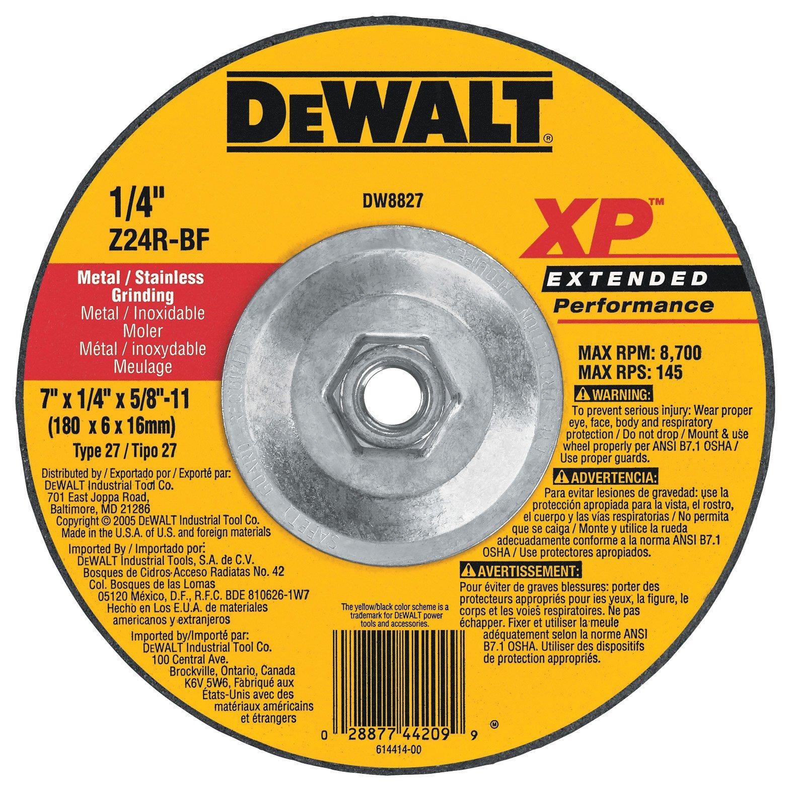 DEWALT DW8827 7-Inch by 1/4-Inch by 5/8-Inch-11 XP Grinding Wheel