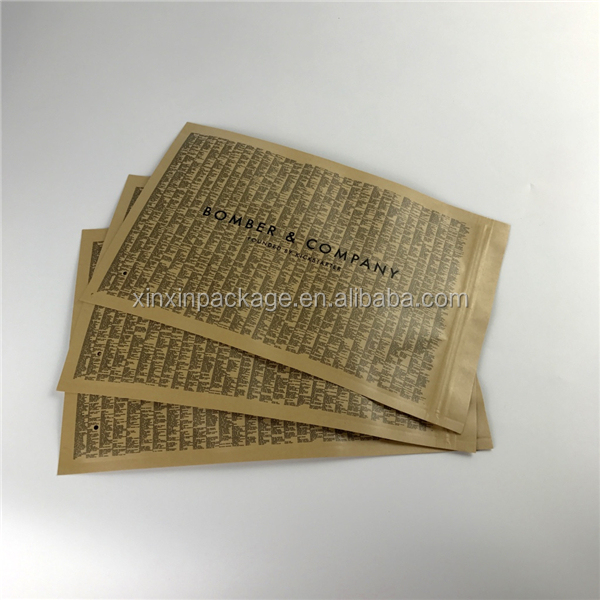 Three side heat sealing zipper customize washable kraft paper bag wholesale for packing computer bag