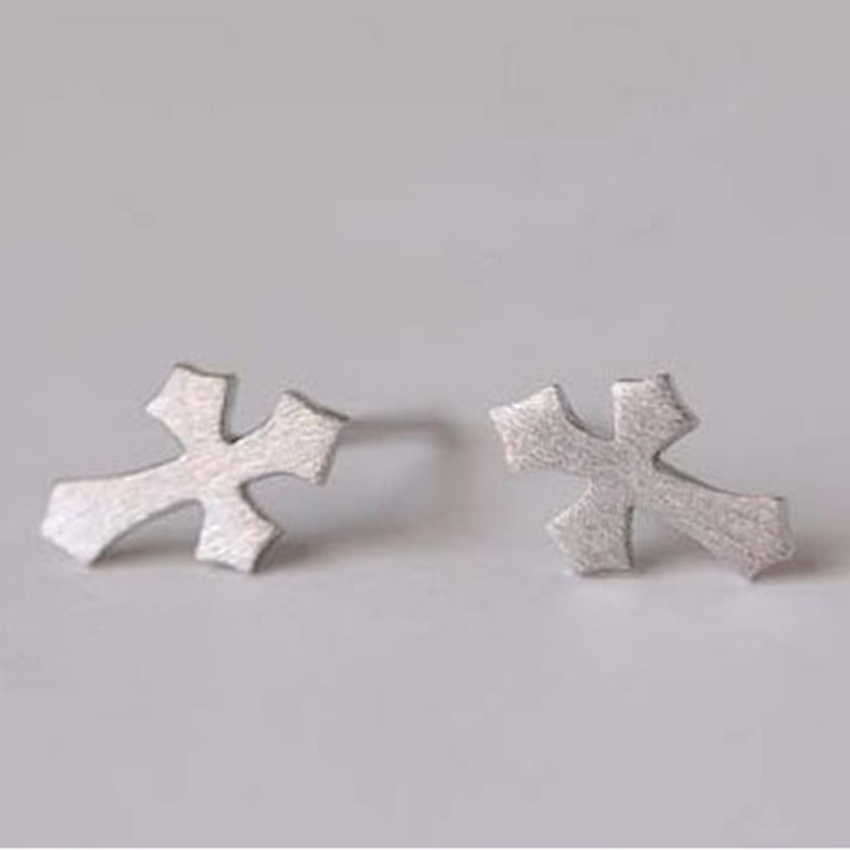 Real Pure 925 Sterling Silver Cross Stud Earrings For Women Christmas Gift Fashion Sterling-silver-jewelry