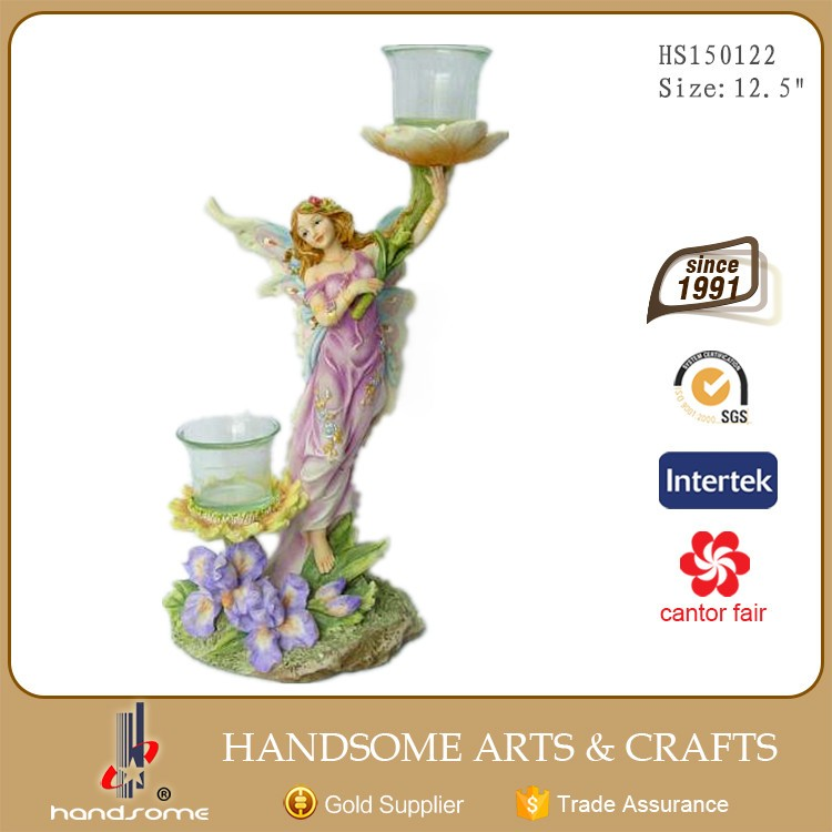 12.5 Inch Resin Fairy Glass Decorative Candle Holder