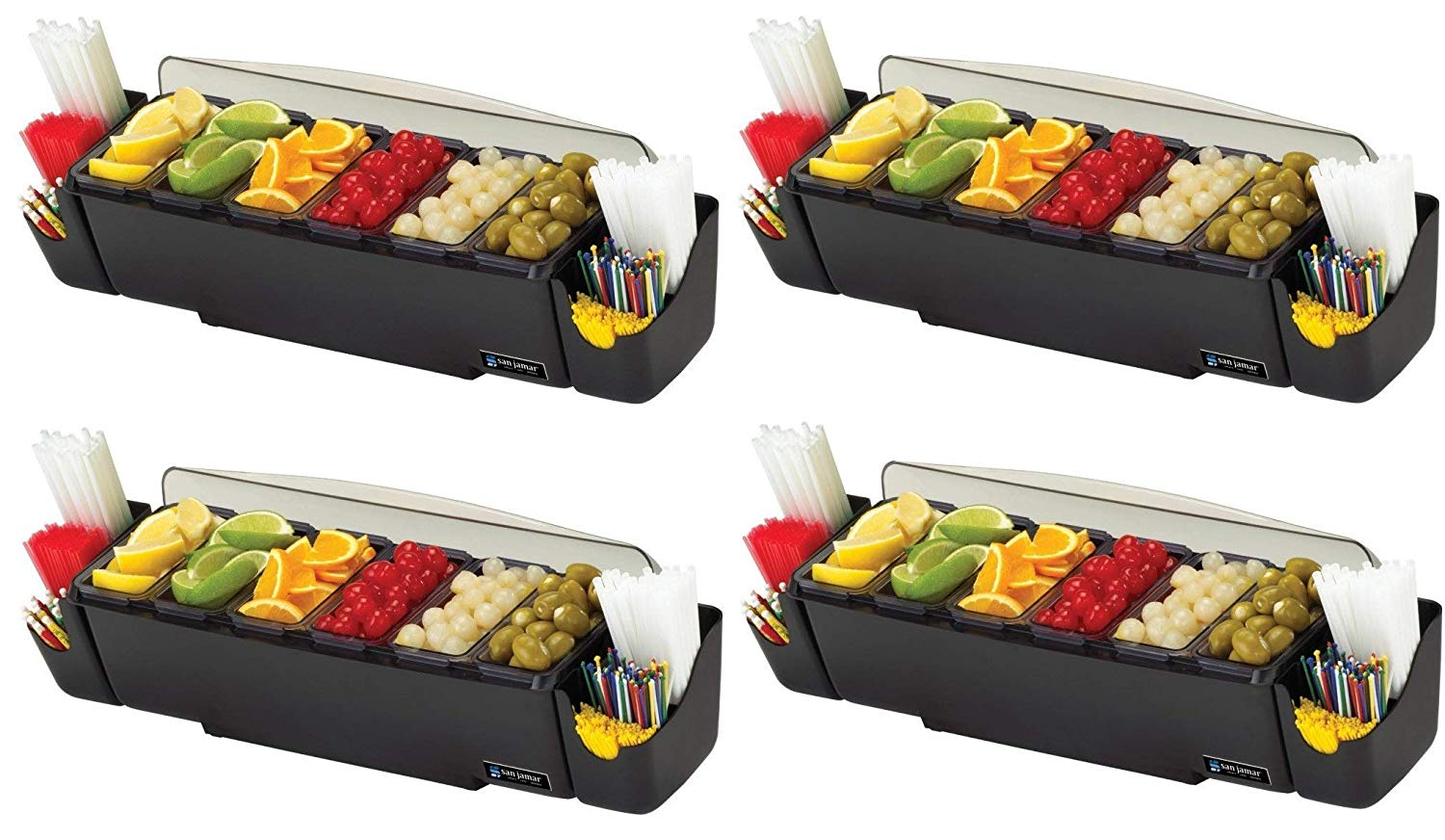 "San Jamar BD4006S 10 Piece The Dome Garnish Center, 3qt Capacity, 22"" Length x 7-1/2"" Width x 8-1/2"" Height (4-(Pack))"