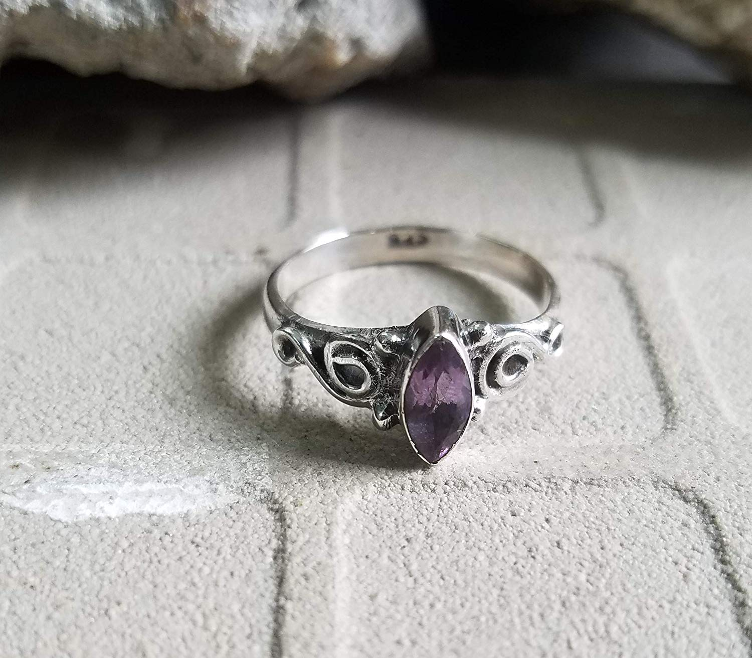 Amethyst Ring.925 Sterling Silver.Outstanding Ring.Peaceful Ring.Tiny Ring.Stacking Ring.Solitaire Ring.Dainty Engagement Ring.Extraordinary Ring.6th Anniversary Jewelry.US All Size Ring