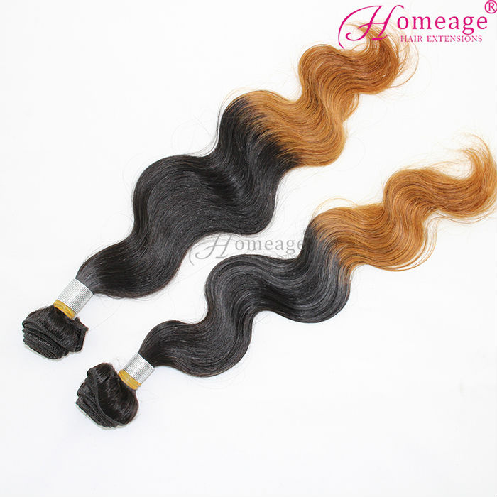 homeage cheap!!! 100% remy hair weft shedding free virgin brazilian brown hair weave ombre hair weave