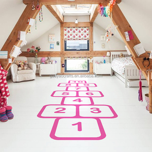 Wall stickers for nursery Personalized floor stickers family games childhood memories stick jump plaid playful hopscotch