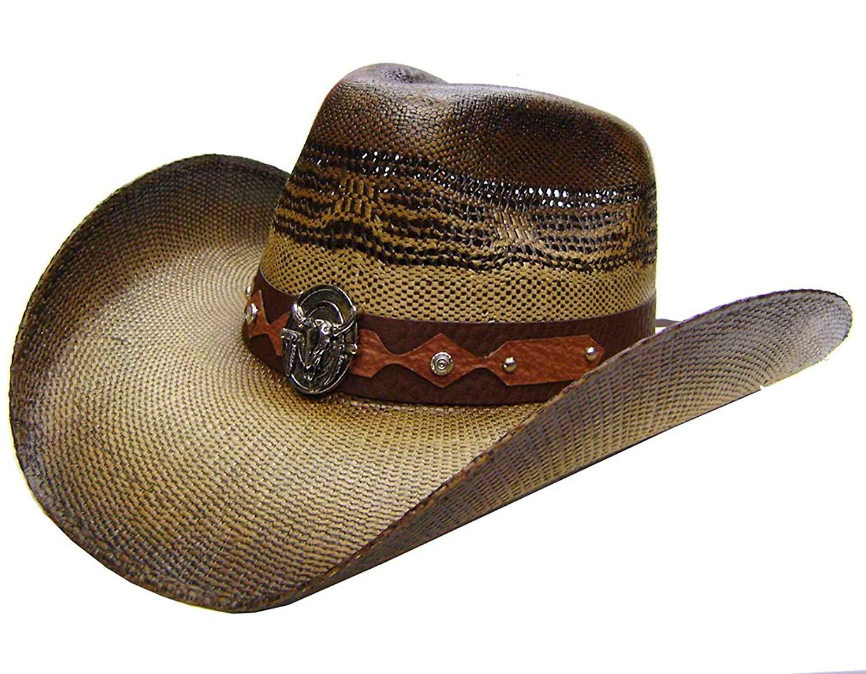 5ad4dad30b7ab Modestone Unisex Straw Cowboy Hat Metal Bull Skull   Feathers Concho Studs  Brown
