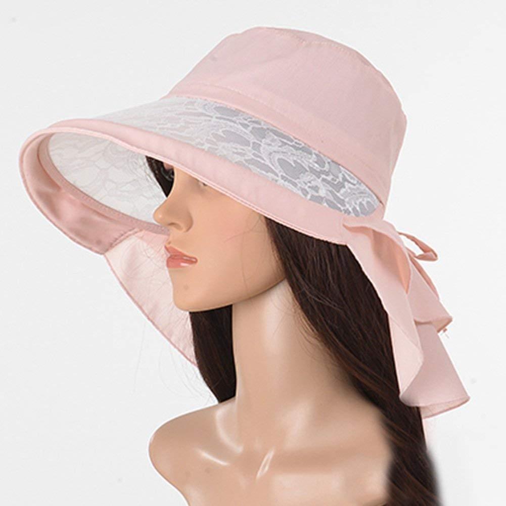 7e0da897cf5 Get Quotations · WENZHE Girls  Caps Visor Sun Hats beach hats UPF50+ Female  summer Polyester Anti-UV