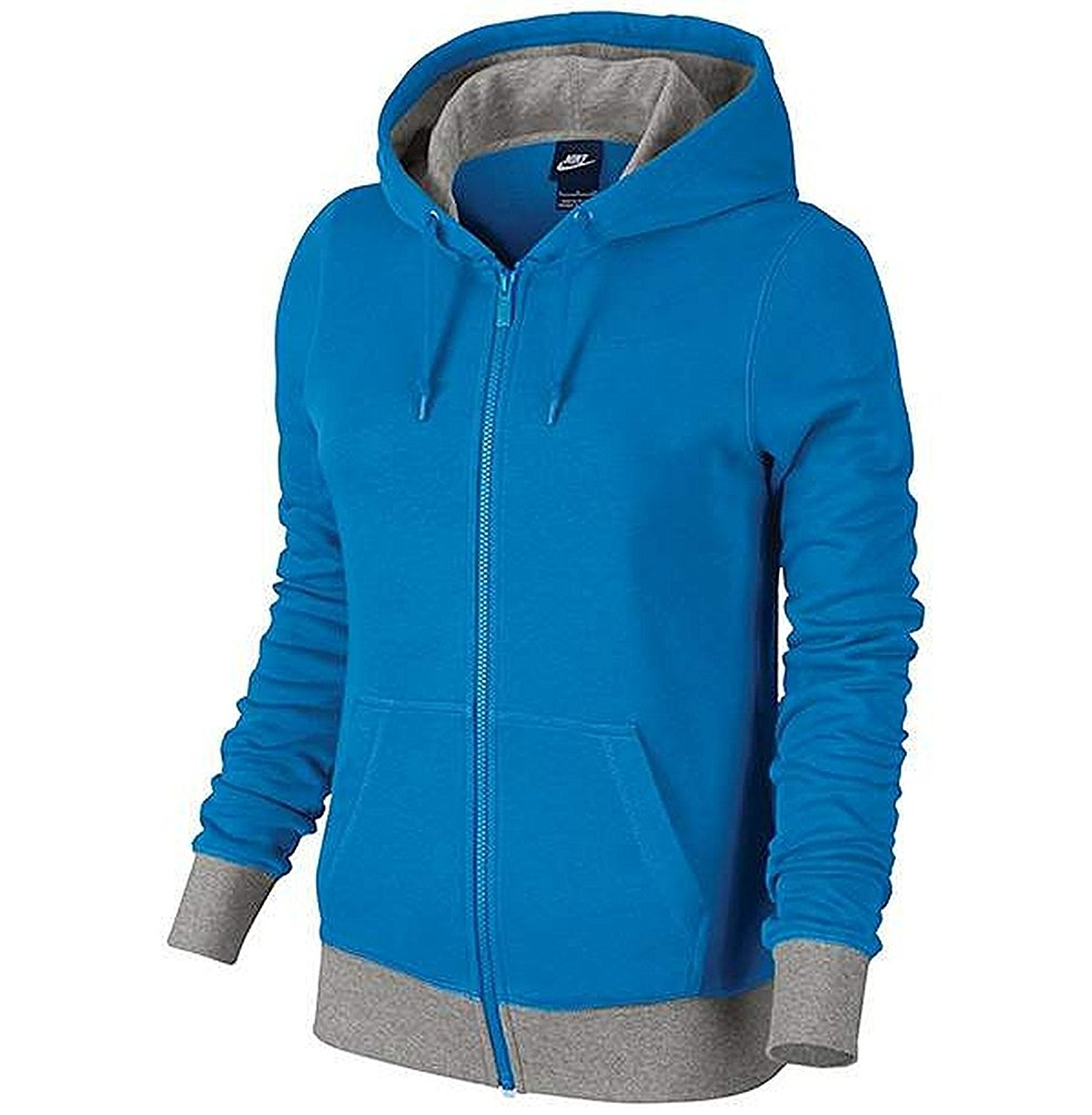c5f02824d1f4 Get Quotations · Nike Women s Club French Terry Full Zip Hoodie - Blue Grey