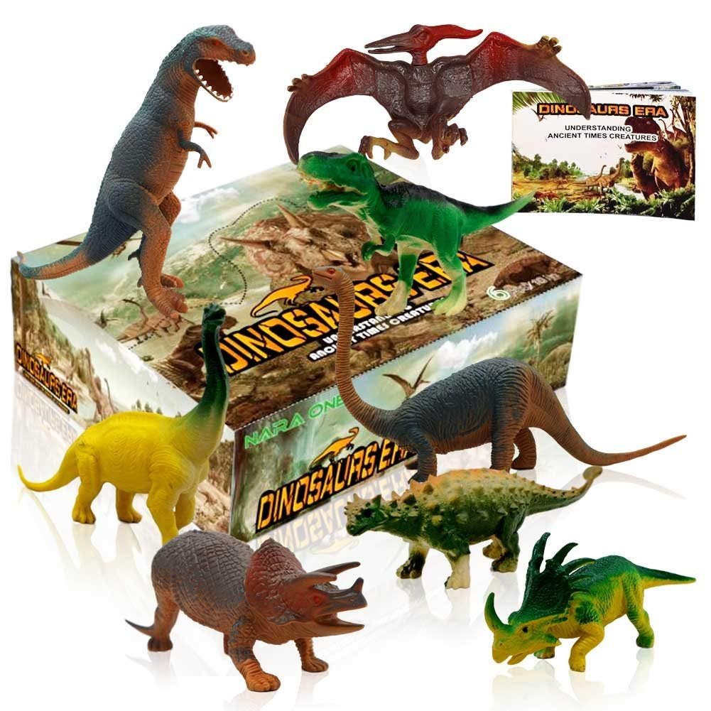 "NARA ONE Dinosaur Toys,Toy Dinosaurs Plastic Dinosaur Figures Movable Dinosaurs Set Party Favors for 3 Year olds Including T rex Toy and Dinosaur Book 8 pcs (4pc 10"",4pc 6"")"