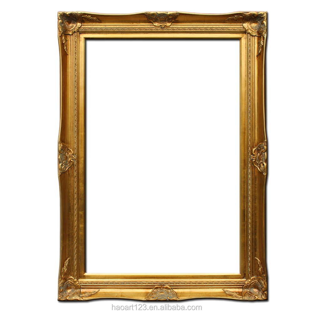 Large Photo Frame Gold Wood Carving Frame for Canvas Oil Painting
