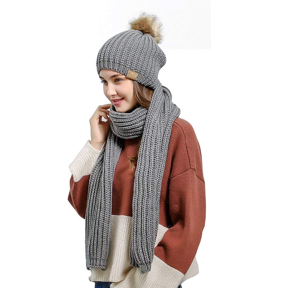 91fe3518382 Get Quotations · ELEOPTION Fashion Winter Scarf and Hat Set for Women  Cashmere Blend Knitted Skullcaps Beanie for Winter