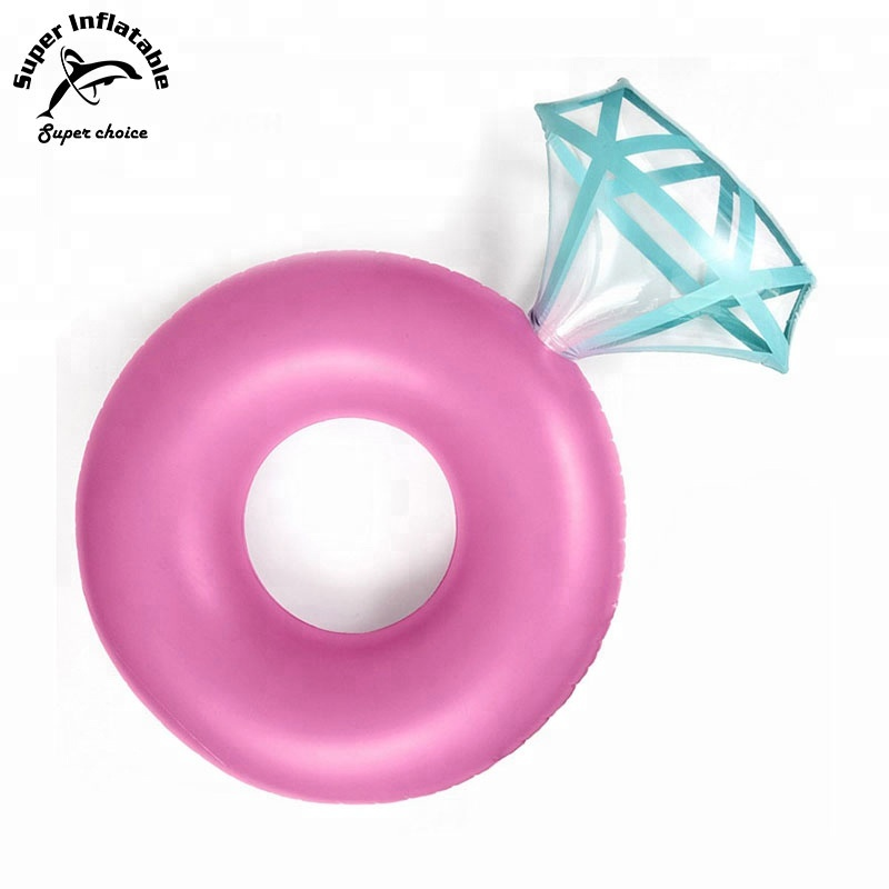 Diamond Ring Inflatable Pool Float Gold and Pink