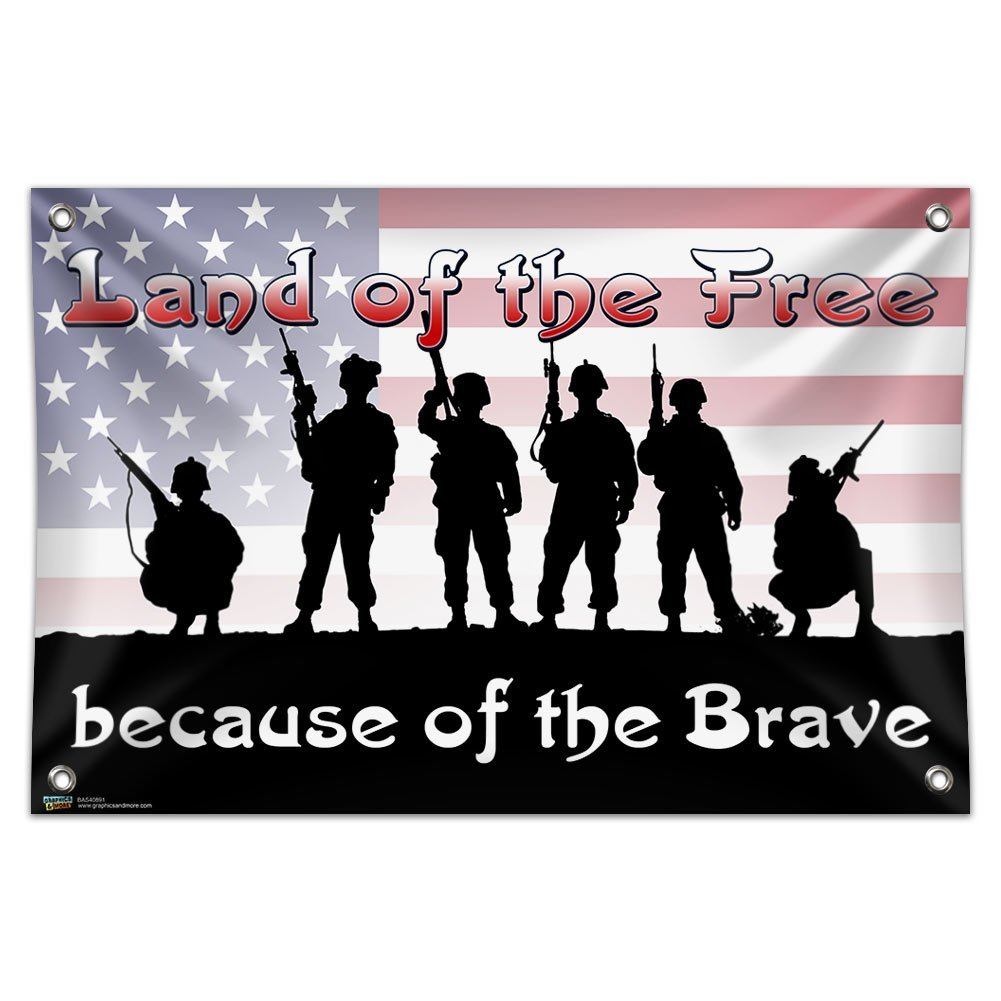 "Land of the Free Because of the Brave - Patriotic America USA 33"" (84cm) x 22"" (56cm) Mini Vinyl Flag Banner Wall Sign"