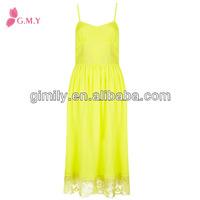 Women baju casual tie dye maxi yellow dress lace beach long dress