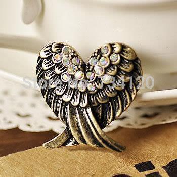 G023 2016 New Retro Imitation Diamond Love Wings rhinestone Ring Fashion jewelry wholesale for women free