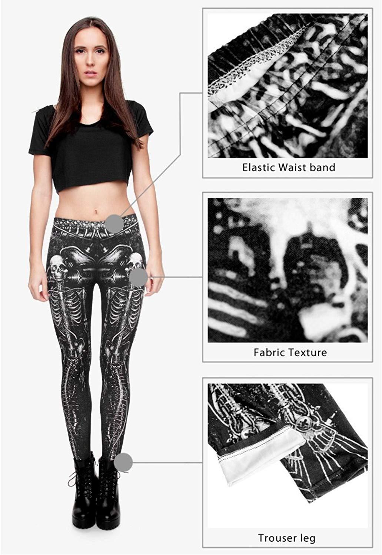 Black Skull Fashion Women Clothing fitness legging Digital 3D Printing Punk Legging Pants Causal Leggings