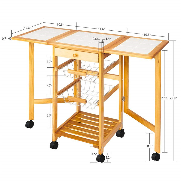 3 Tier extendable kitchen trolley baskets design with drawer 7