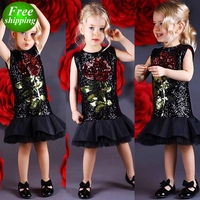 2019 New Summer Boutique Toddler Girls Kids Rose Flower Black Sequins Dress Sleeveless Casual Evening Party Tutu Tulles Dress