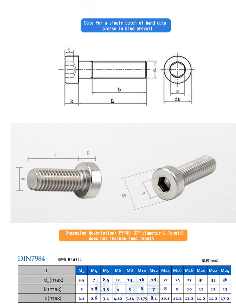 DIN7984 sus304 Hexagon Socket Head Cap Screws with thin cup head