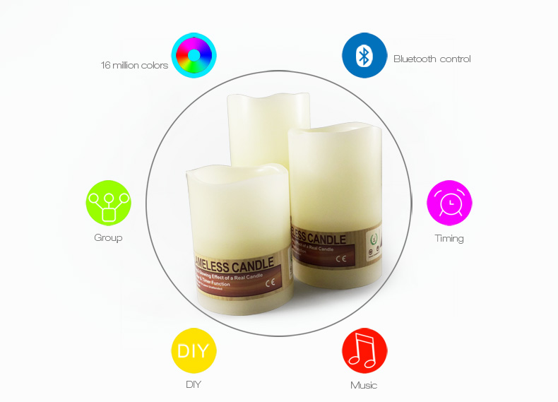 led lighting wireless control free APP electronic birthday candle