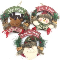 mini rattan wooden door christmas wreath wholesale