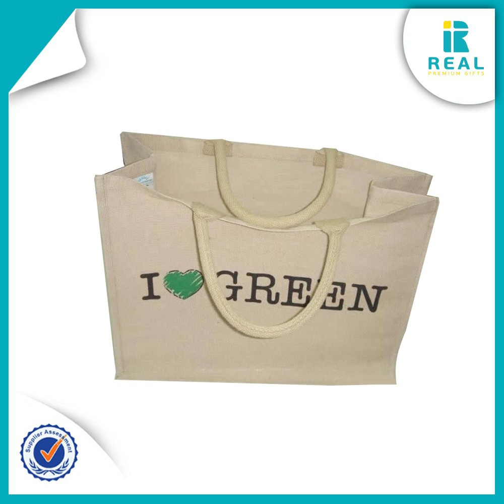 Wholesale Customized Logo Handled Jute Gunny Packaging Bag Recyclable Burlap Sack