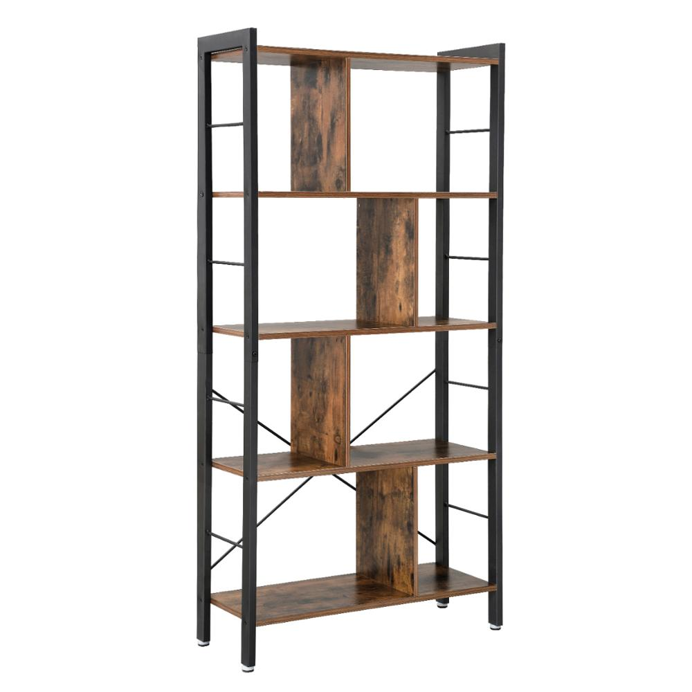 VASAGLE design portable modern furniture large tall bookcase,4 tiers industrial metal ladder book <strong>shelf</strong> wooden for living room