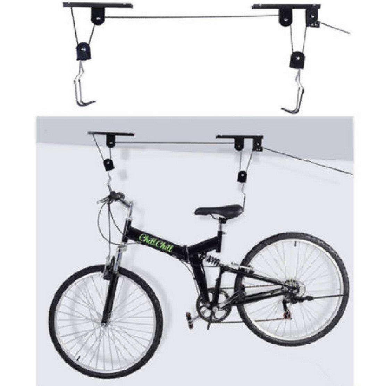 Bike Bicycle Ceiling Mounted ; Hoist Storage Garage Hanger Pulley Rack : Lift New