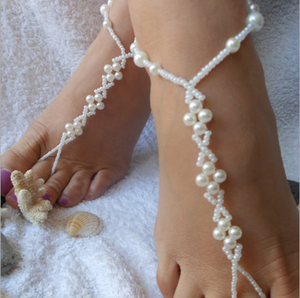 Queena Boho Hot Turquoise Pearl Bead Barefoot Sandal Foot Toe Ring Jewelry Elastic Beach Pearl Anklet