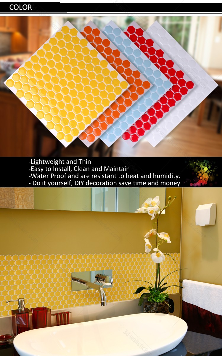 New arrival hexagon mosaic design wall decoration sticker for Christmas home wall decor
