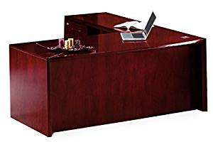 "Mayline L-Shaped Desk 72""W X 80""D X 29""H Desk: 72""W X 32""D X 29.5""H Return: 48""W X 20.5""D 29.5""H Work Surfaces 2"" Thick W/Beveled Edge - Sierra Cherry - Right Shown"