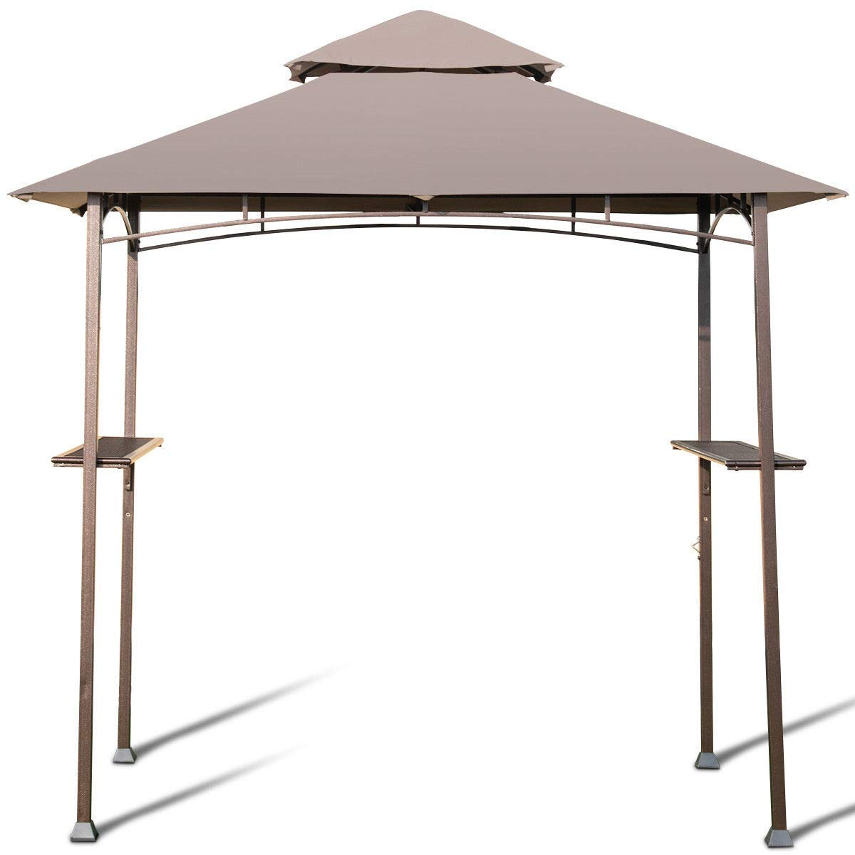 AK Energy 8'x5' Outdoor Barbecue Grill Gazebo Canopy Tent Patio BBQ Shelter W/Air Vent Side Shelf Khaki Color