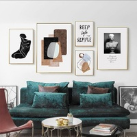 Nordic Abstract Color Block Statue Canvas Paintings Black and White Poster Living Room Decor