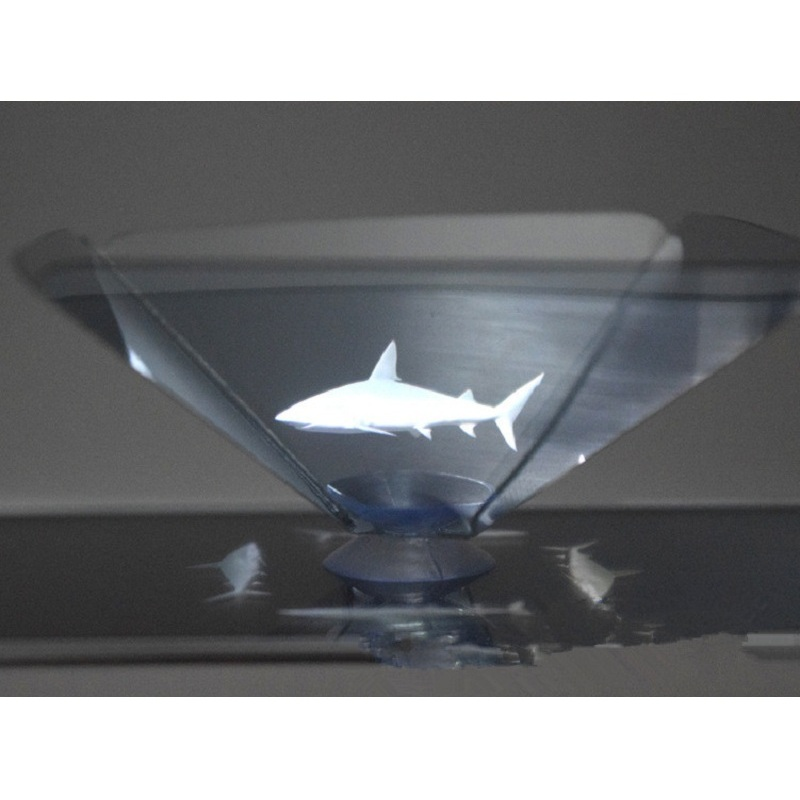 Mini holographic projector pyramid display
