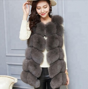 China factory supply high quality fluffy and soft women's long real fox fur vest