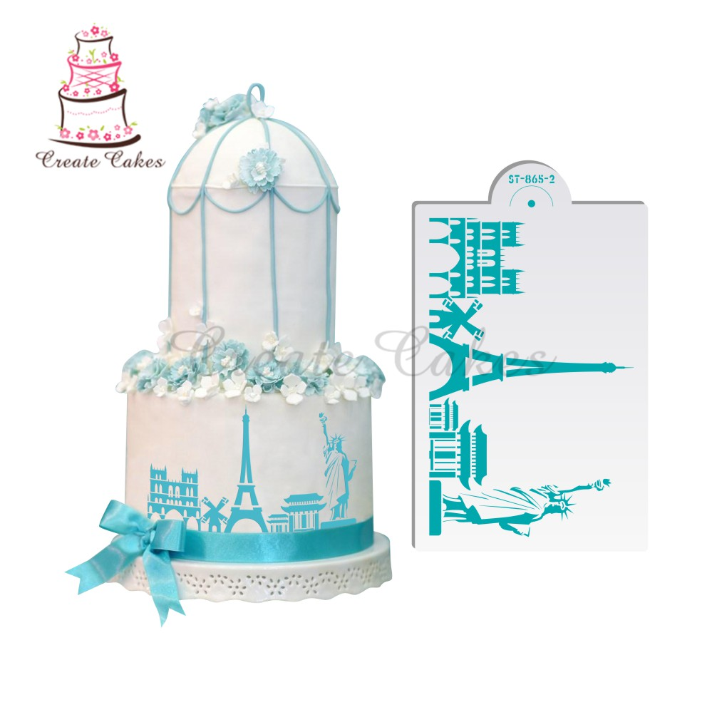 Eiffel Tower Pattern Cake Stencil Set Decorative Stencils ...