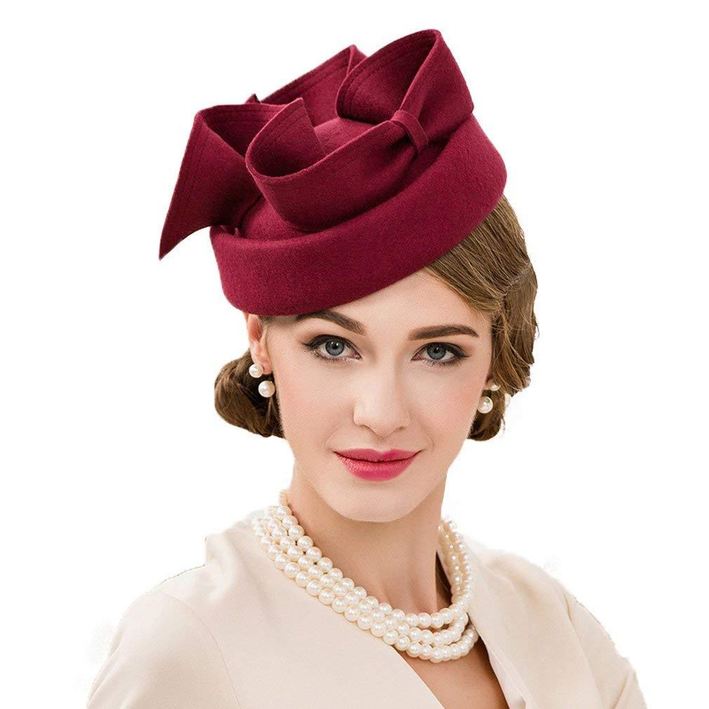 905941dbcab55 Krastal Womens Fascinator Wine Red Vintage Wool Elegant Party Derby Pillbox  Hats