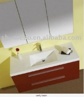 red wall hung bathroom unit