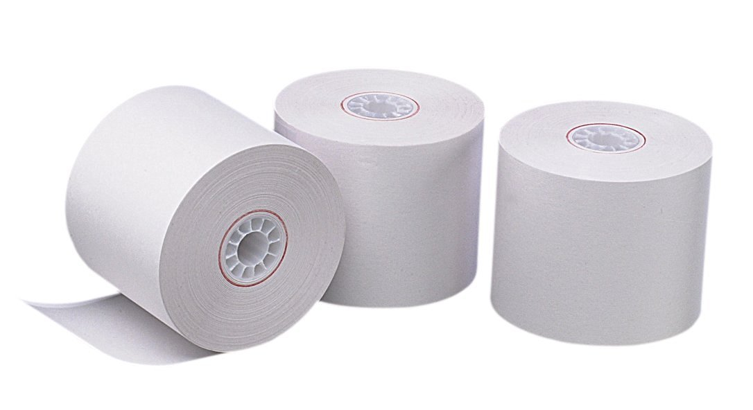 PM Company Perfection One Ply Blended Bond Paper Rolls, 2.25 X 126 Feet, White, 100 Rolls Per Carton (07923)