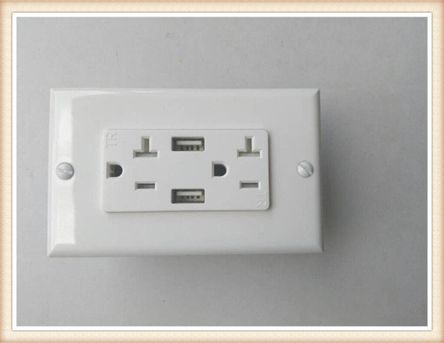 American Us Canada Usb Wall Socket 2 Gang Electrical Outlet With 2 ...