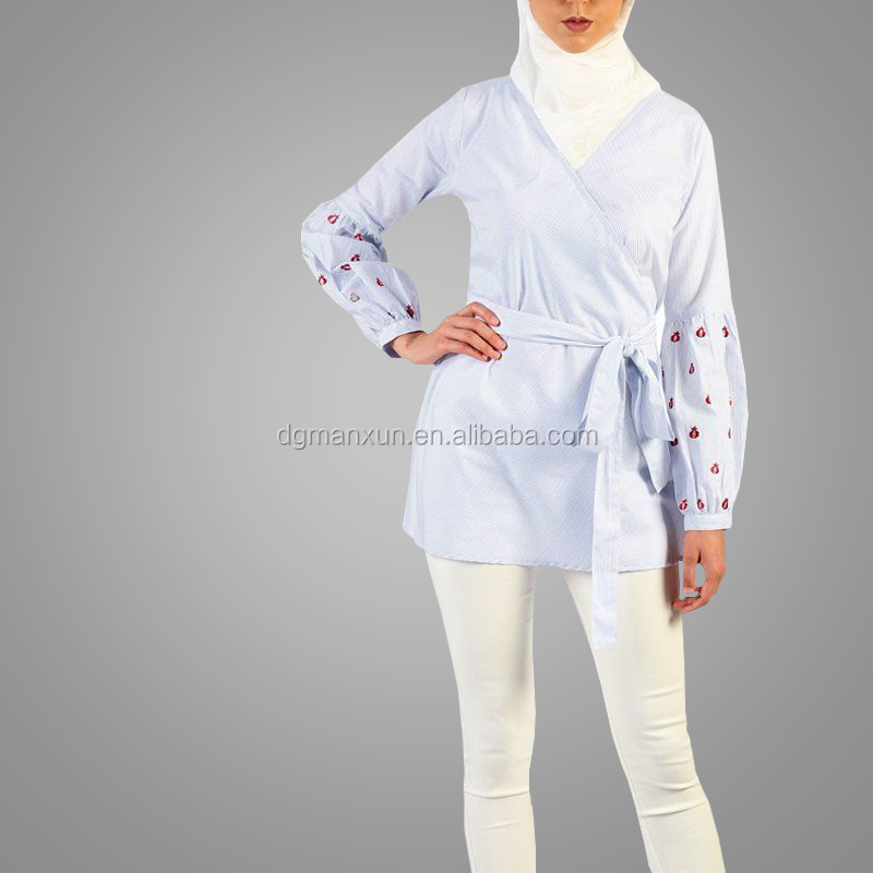 Newest Style Embroidered Sleeve Long Pin Stripe Women Gender Tunic Elegant Lady Tops Islamic Clothing