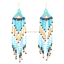 Dropshipping Service Wholesale Handmade Custom Fashion Colorful Seed Beads Earring Bohemian Style Evil Eyes Tassel Earring