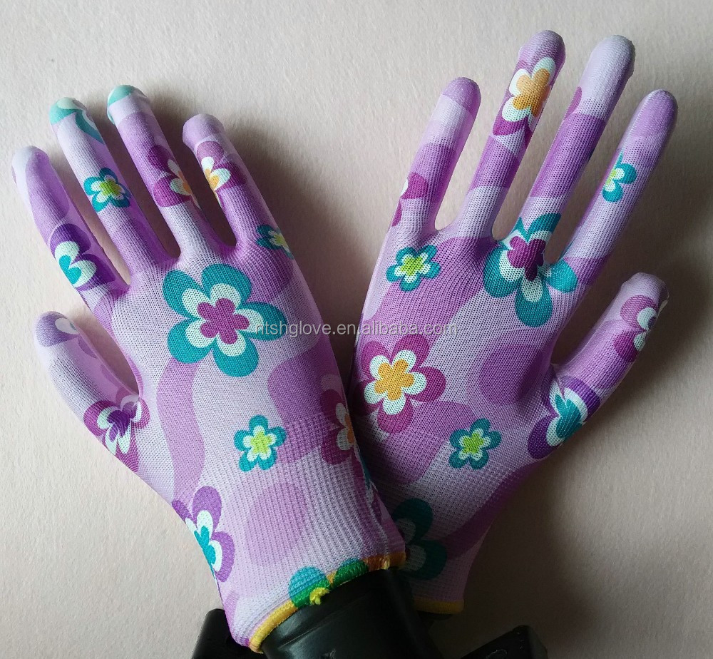 PU palm fit gloves for gardening lady gloves beautiful gloves