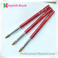 Classical red color acrylic nail art pro best quality fantasy nail brush kolinsky