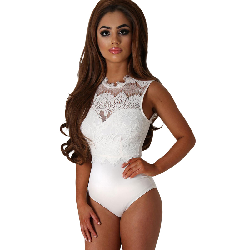 High Quality White Lace High Neck Cut Out Back Bodysuit Women Sexy