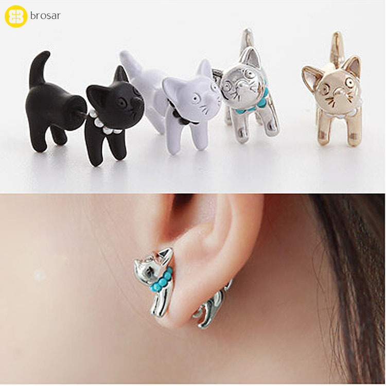 Lady Girl Cartoon 3D Animal Earrings Black Gold Cute Pearl Cat Stud Earring