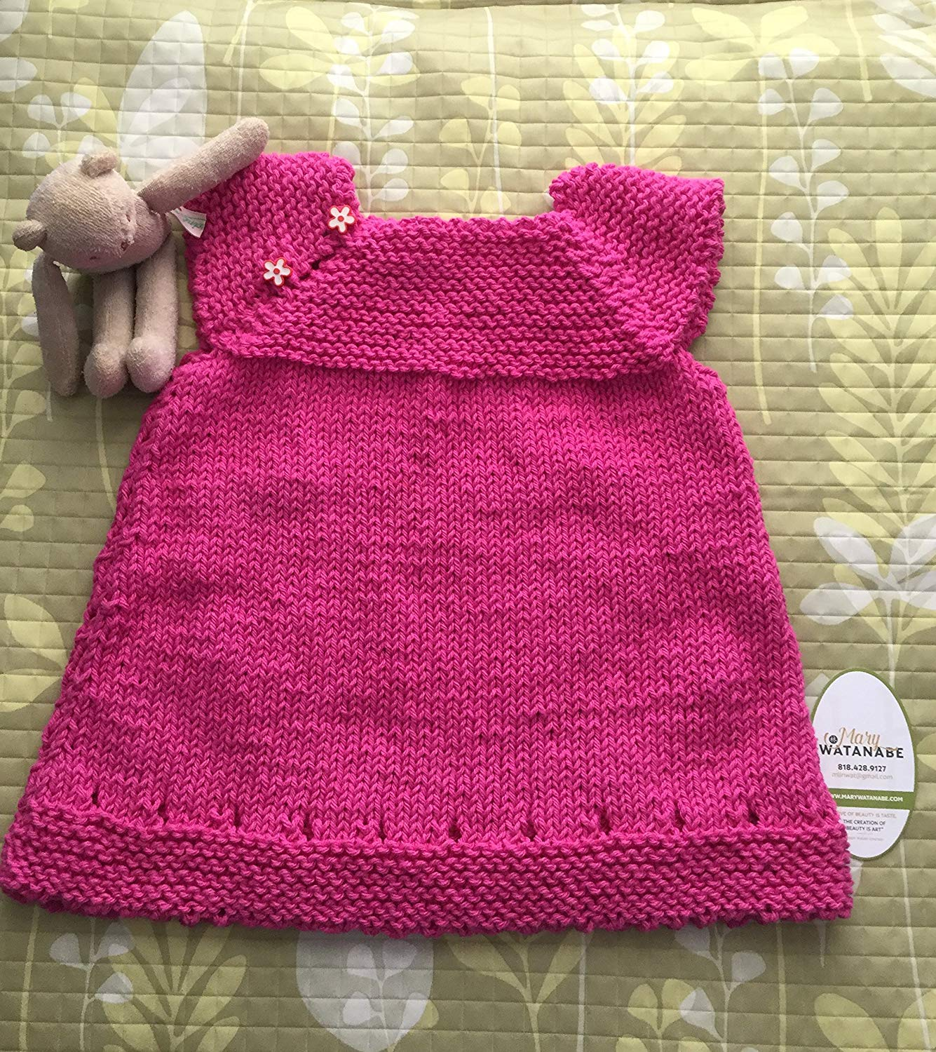 750cf94d386eba Get Quotations · Cute Hand Knit Baby Sweater Dress--Rosy Pink Cotton Yarn  with 2 Flower Buttons