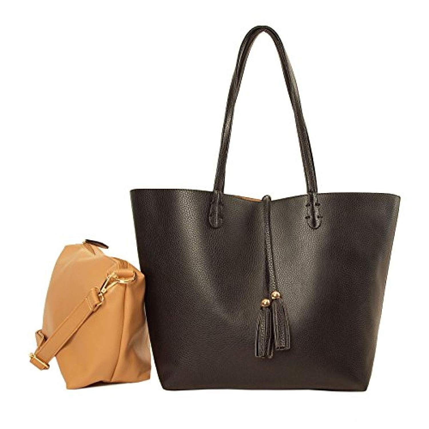 666b9e53b5b6 Get Quotations · Imoshion Women s Large Reversibile Genuine Faux Leather Bag -In-A-Bag Tote Bag