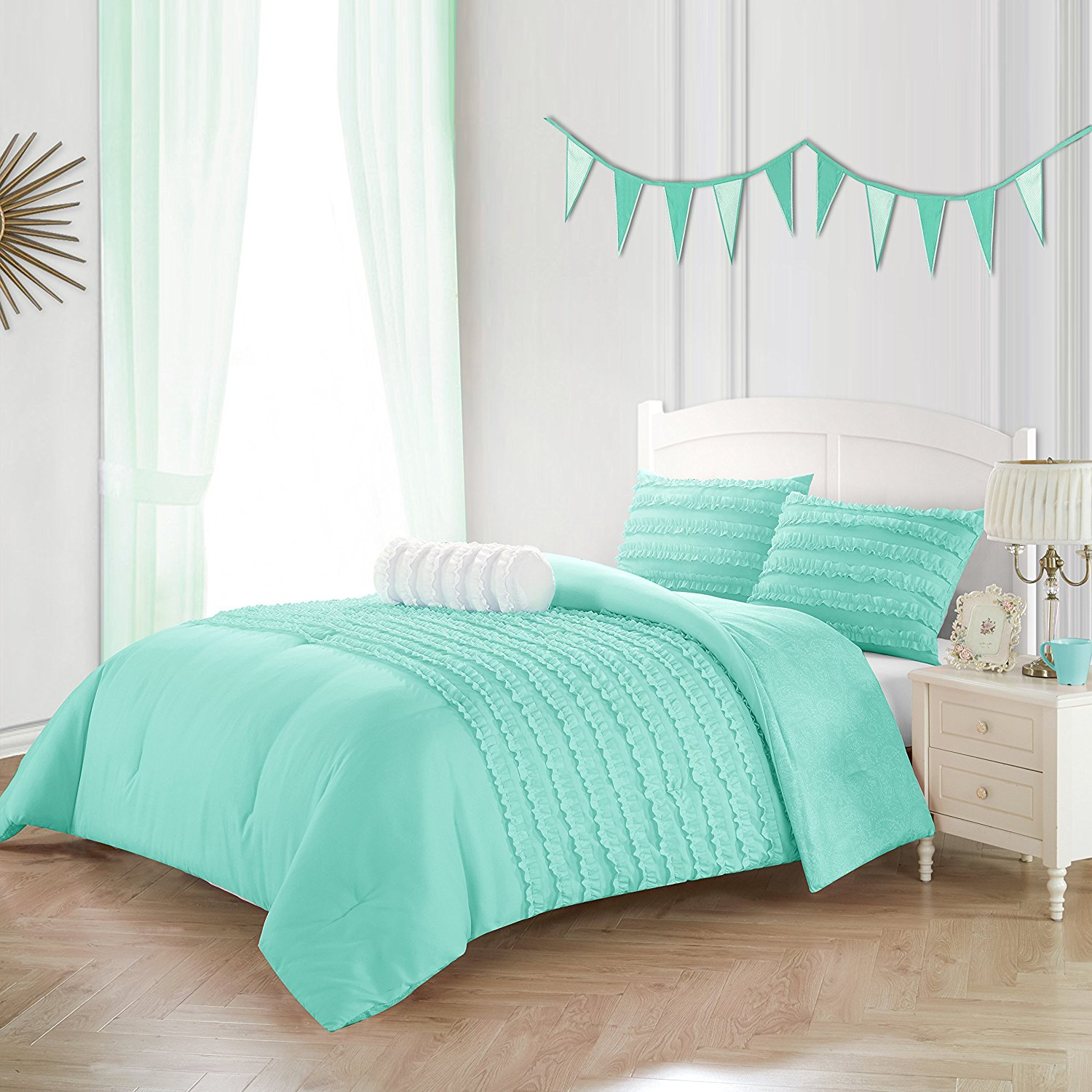 Buy N2 2 Piece Mint Solid Color Textured Ruffle Comforter Set Twin Green Ruched Ripples All Over Design Kids Teen Themed Reversible Kids Bedding For Bedroom Casual Luxurious Polyester In Cheap Price